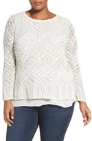 Lucky Brand Plus Size Women's Stitch Shine Pullover Sweater