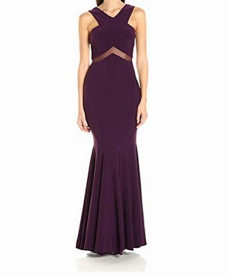 Betsy & Adam Women's Illusion Cut Out Gown