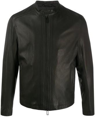 Emporio Armani Slim-Fit Leather Jacket