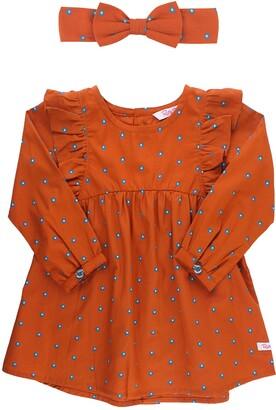 RuffleButts Daisy Print Ruffle Sleeve Dress & Bow Head Wrap Set