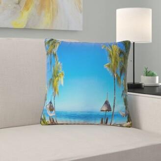 East Urban Home Seashore Photo Mauritius Beach with Chairs Throw Pillow East Urban Home