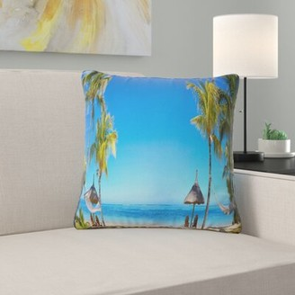 "Seashore Photo Mauritius Beach with Chairs Throw Pillow East Urban Home Size: 12"" H x 20"" W"