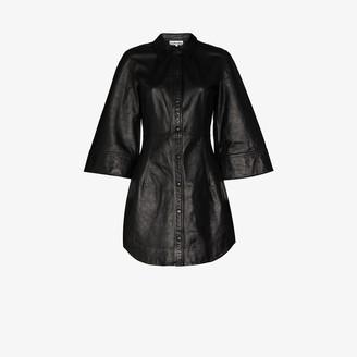 Ganni Press Stud Leather Shirt Dress