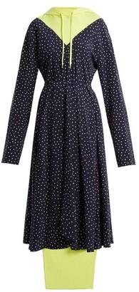 Vetements Hooded Contrast-panel Emoji-print Dress - Womens - Navy Multi