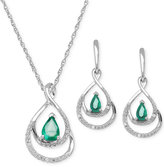 Macy's Emerald (7/8 ct. t.w.) and Diamond Accent Jewelry Set in Sterling Silver