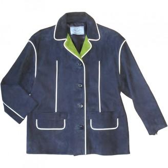 Prada Navy Leather Coats