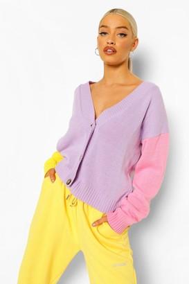 boohoo Pastel Colour Block Cardigan