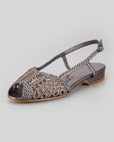 Sesto Meucci Grace Flat Woven Leather Slingback, Pewter/Bronze