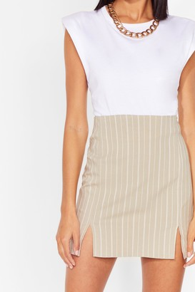 Nasty Gal Womens That's My Stripe Slit Mini Skirt - Beige - 8
