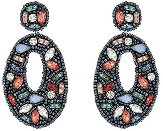 Kenneth Jay Lane Black Seed Bead with Multicolor Stones Oval Drop Post Earrings (Black/Multi) Earring