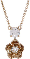Marchesa Crystal Accented Floral Pendant Necklace