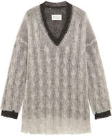 Maison Margiela Layered Two-tone Cable-knit Sweater - Gray