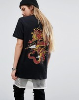 Criminal Damage Oversized T-Shirt With Dragon Back Graphic