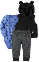 Carter's 3-Pc. Hooded Fleece Vest, Bodysuit and Pants Set, Baby Boys (0-24 months)