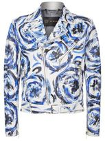 Versace Painted Leather Biker Jacket