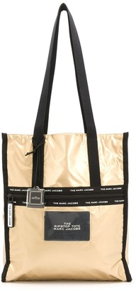 Marc Jacobs canvas-trimmed metallic tote