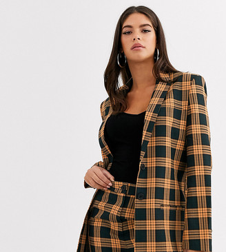 COLLUSION Tall check blazer with print