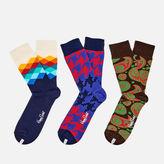 Happy Socks Men's Patterned 3 Pack Socks - Multi - EU 41-46