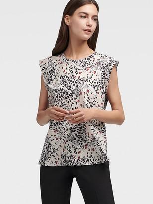 DKNY Women's Cap Sleeve Butterfly Print Top - Multi - Size M