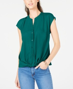 INC International Concepts Inc Petite Twist-Front Top, Created for Macy's