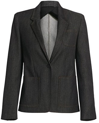 Max Mara Berlina Chambray Denim Wool Blazer