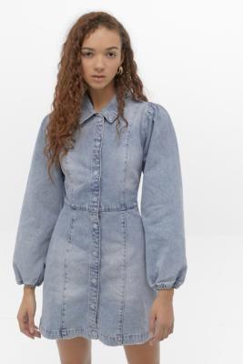 Free People Mia Denim Mini Dress - blue XS at Urban Outfitters