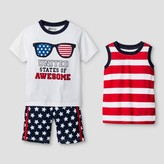 Little Rebels Toddler Boys' United States of Awesome 3 piece Top And Bottom Set - White