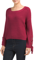 Juniors Lace Up Sweater With Grommets