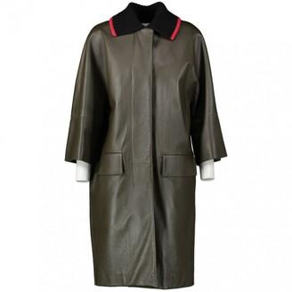 Marni Khaki Leather Coat for Women