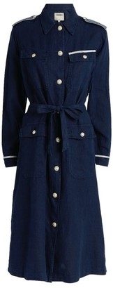 L'Agence Linen Kingsley Tape-Trim Long Coat