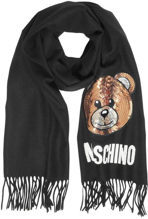 Moschino Sequin Teddy Bear Fringed Wool Scarf