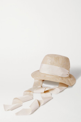 Gigi Burris Millinery Space For Giants Trail Grosgrain-trimmed Metallic Linen Sunhat - Beige