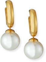 Majorica Huggie Hoop Pearl-Drop Earrings, White