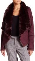 Bagatelle Drape Faux Suede & Faux Fur Jacket