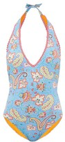 Etro Paisley-print Swimsuit - Womens - Blue Print