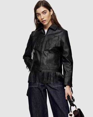 Topshop Faux Leather Fringe Jacket