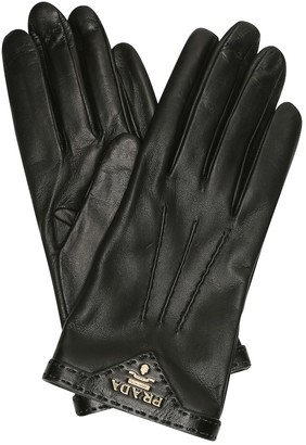 Prada Logo leather gloves