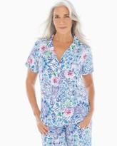 Cool Nights Short Sleeve Notch Collar Pajama Top Kaleidoscopic Tiles