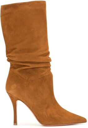 Amina Muaddi Slouchy Suede Mid-Calf Boots