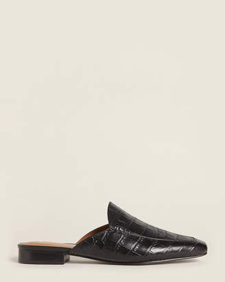 Marc Fisher Black Pam Croc-Embossed Leather Mules