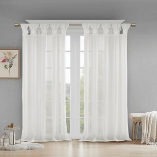 Madison Home USA Florah Floral Embellished Cuff Tab Top Solid Single Window Panel