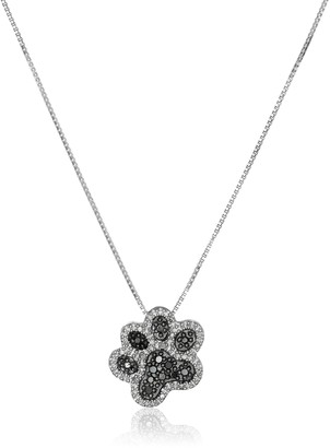 Amazon Collection Sterling Silver Black and White Diamond Dog Paw Pendant Necklace (1/10 cttw) 18""