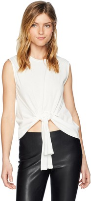 J.o.a. Women's Cinched TIE Front Basic Crew Neck Cotton Crop Tank TOP