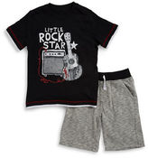 Kids Headquarters Boys 2-7 Two-Piece Printed Tee and Heathered Shorts Set