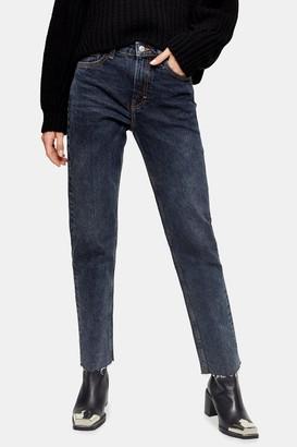 Topshop Womens Sulphur Raw Hem Straight Jeans - Dusty Blue