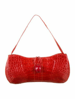 Nancy Gonzalez Caiman Crocodile Clutch Red