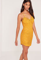 Missguided Strappy Lace Bodycon Dress Yellow