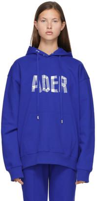 Ader Error SSENSE Exclusive Blue Tape Logo Hoodie