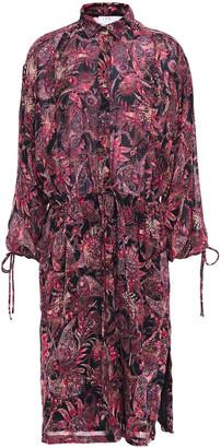 IRO Placid Gathered Printed Chiffon Dress