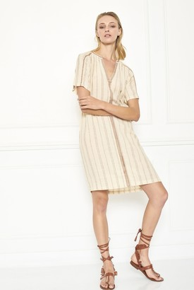 MKT Studio Ivory Rifa Open Collar Dress - small